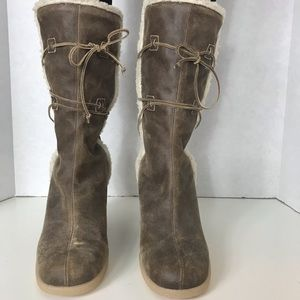 Brown Snowflake Shearling Pull On Wedge Boot 8.5M